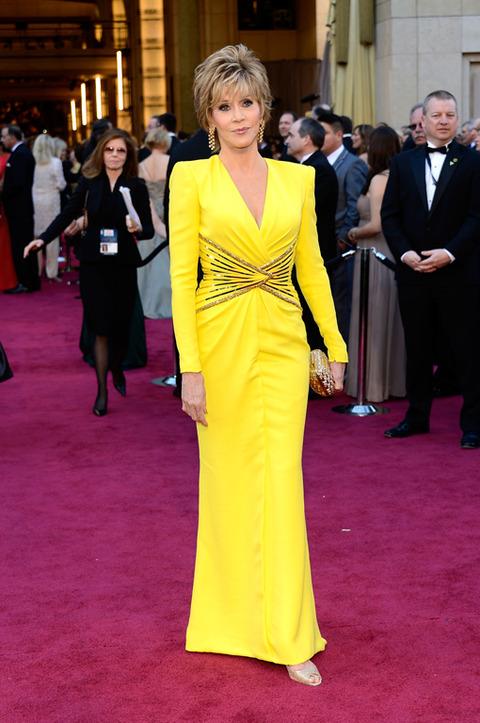 Jane Fonda en la alfombra roja de los Premios Oscar 2013