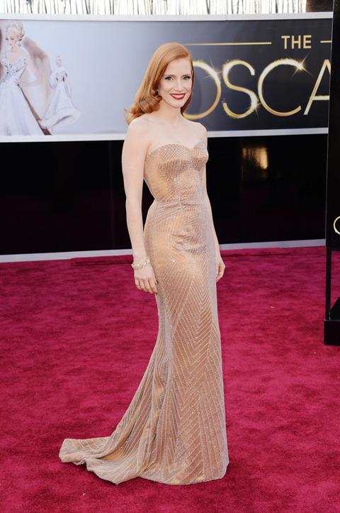 Jessica Chastain en la alfombra roja de los Premios Oscar 2013