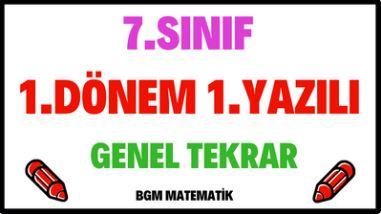 7.Sınıf Matematik 1 Dönem 1 Yazılı Çözümlü Sınav Genel Tekrar