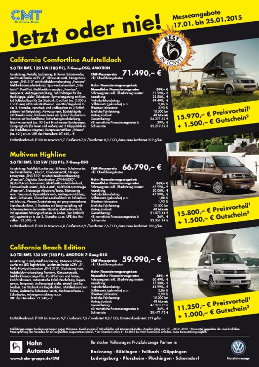 Messe Flyer CMT für Hahn Automobile