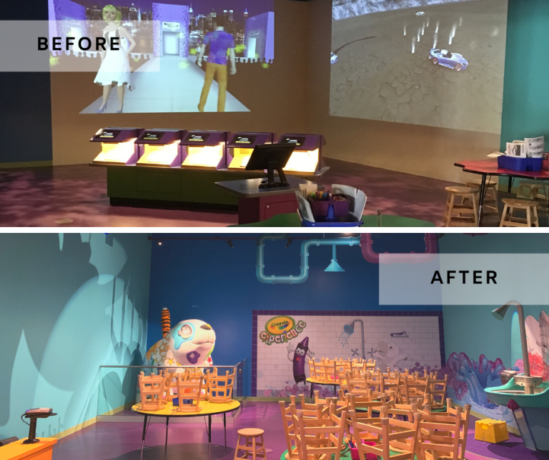 Before and after of Crayola Experience new exhibits from dark projections room to a bright area including plumbing and decorations