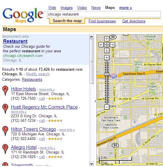 Google Maps Showing Hotels for Restaurant Keywords