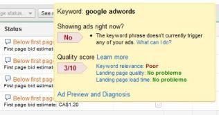 adwords diagnostic tool