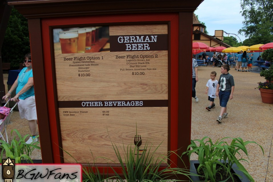 The booth's in-park menu board