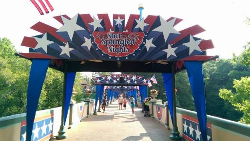 The San Marco/Oktoberfest bridge is all decked out in Star Spangled Nights garb