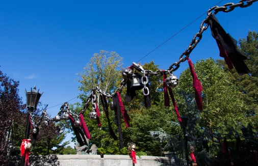 Skulls and chains hung above the walkway between Oktoberfest and Rhinefeld