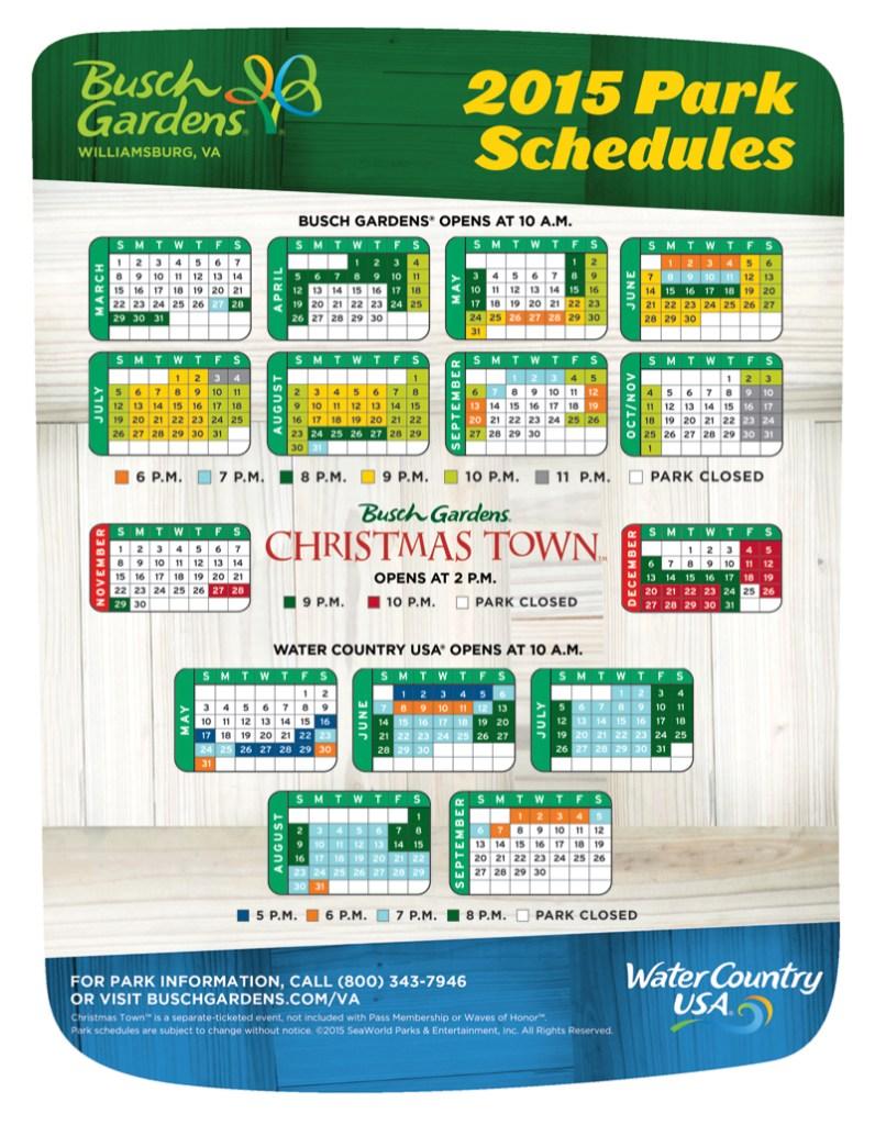 2015 Operating Schedule