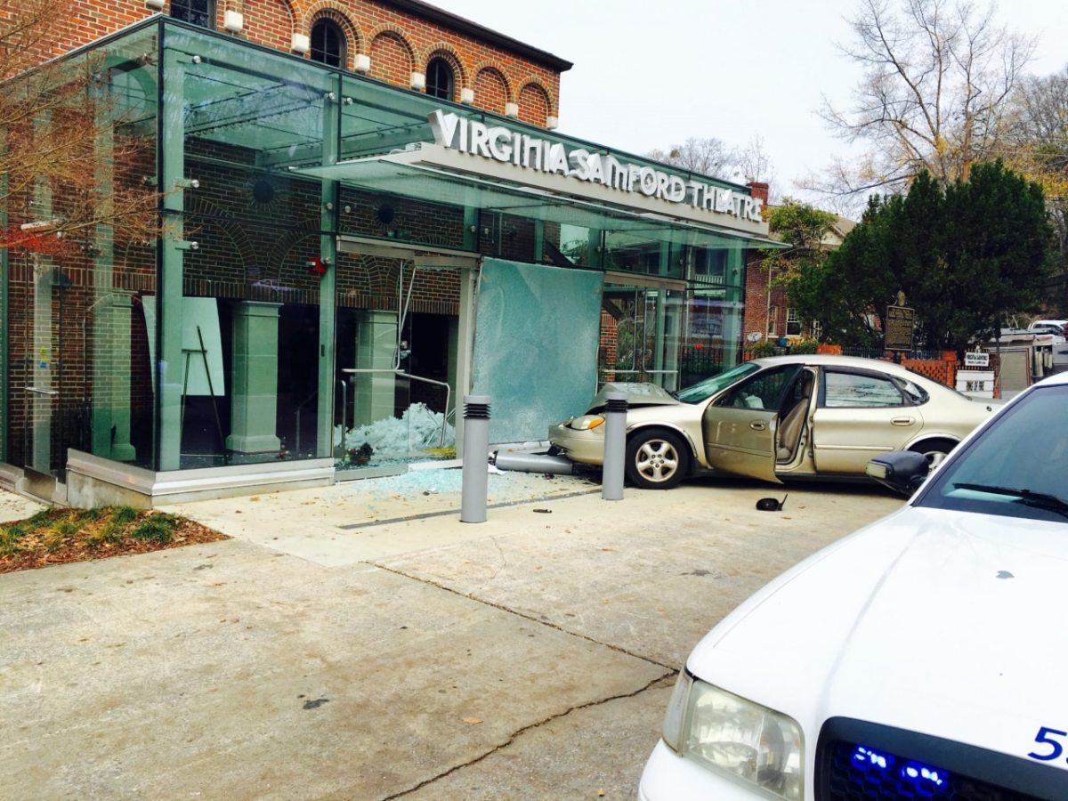 Car crashes into Virginia Samford Theatre entrance this morning