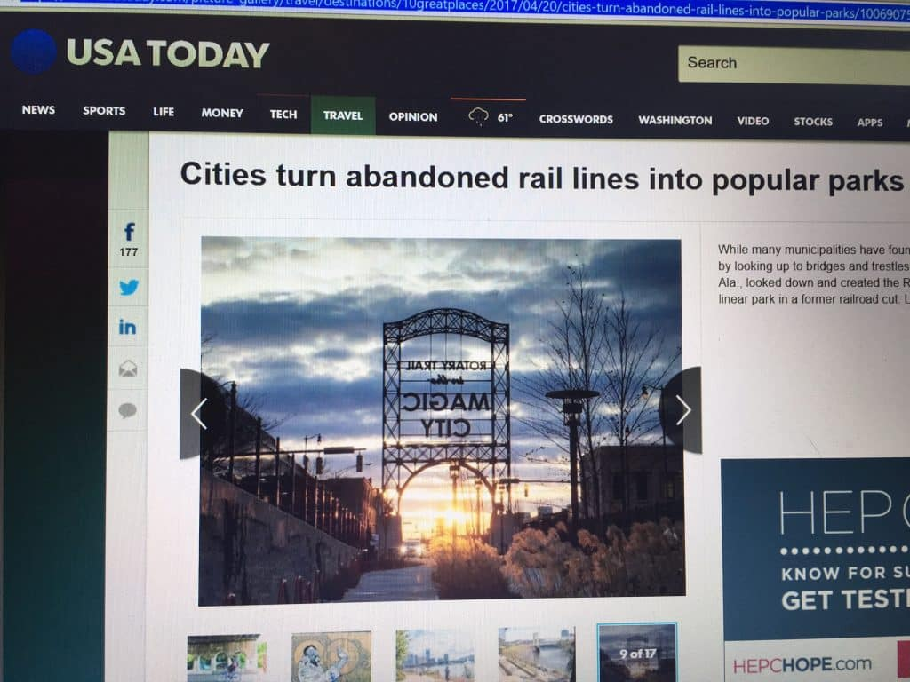 Birmingham's Rotary Trail Featured in USA Today