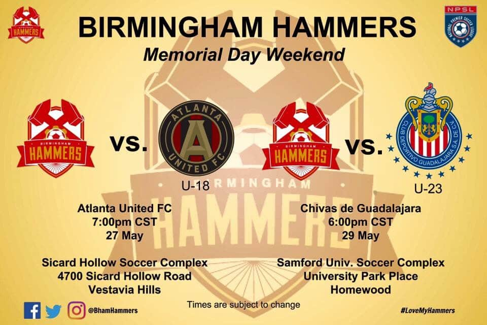 Hammer Down! Special Birmingham Hammers Memorial Day weekend