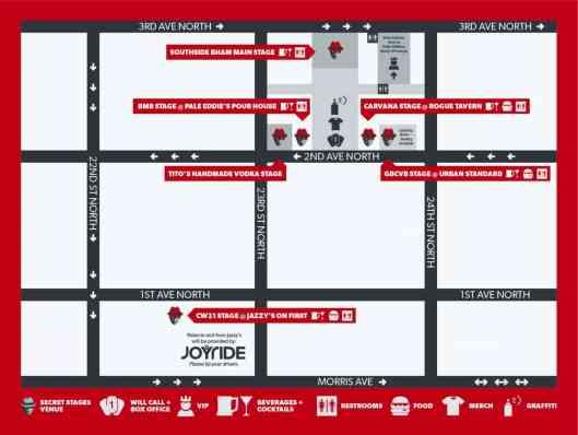 Secret Stages 2017 Map - Birmingham, AL