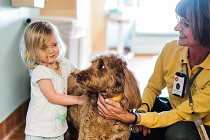 Hand in Paw assisted therapy dog with child