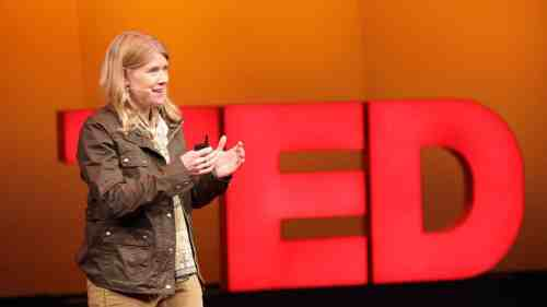 Sarah Parcak giving TED talk