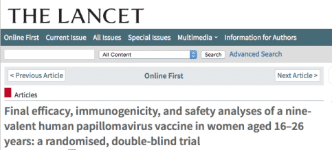 Screenshot of the Lancet study featuring UAB's Dr. Huh