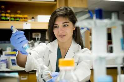 Female doctor in the lab at UAB with vaccine