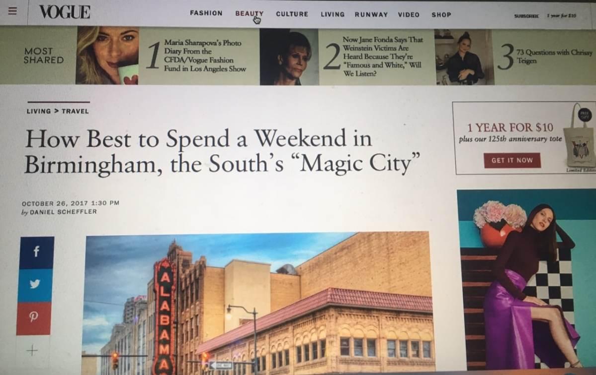 """Vogue Magazine features Birmingham – """"the South's Magic City"""""""