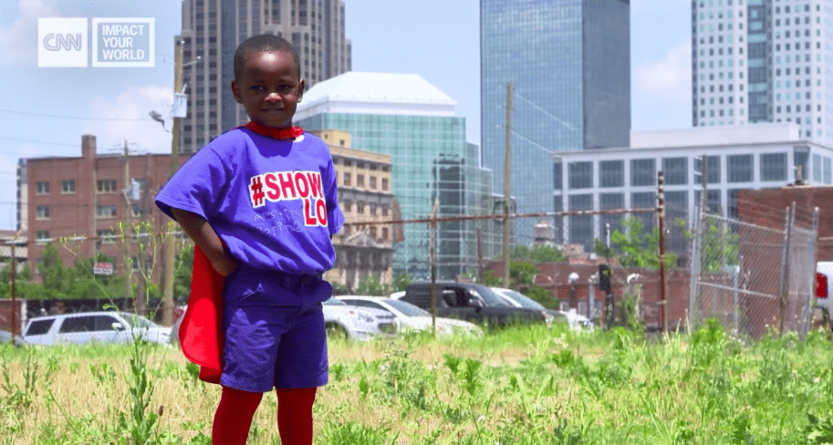 Birmingham 4 year old cape crusader President Austin Perine's message of #showlove is growing