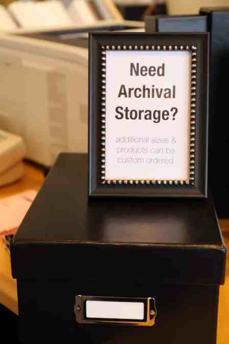 An acid-free storage container for photos