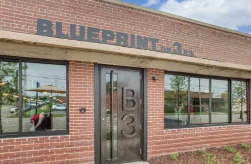 Front Facade of Blueprint on 3rd, ahead of their Valentine's Day prix fixe special in birmingham.