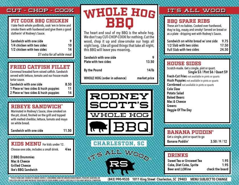 Birmingham, Alabama, Avondale, Rodney Scott, Rodney Scott's BBQ, menu