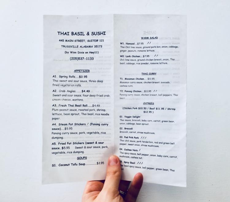 Birmingham, Thai Basil and Sushi, Trussville, asian restaurants, asian cuisine