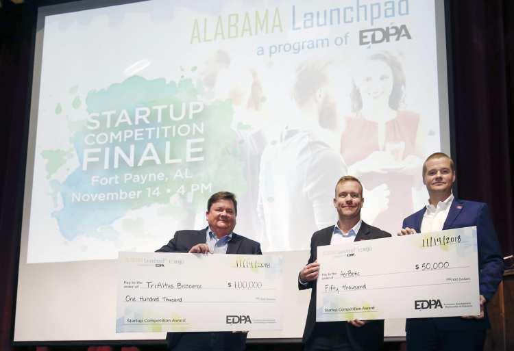 TriAltus Bioscience, AerBetic, Alabama Launchpad Startup Competition winners. Photo via EDPA