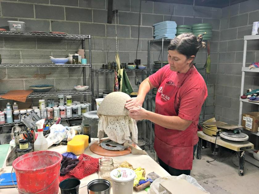 Leslie Martin Smith, who taught all of the other Roebuck Springs potters, at work in her studio.