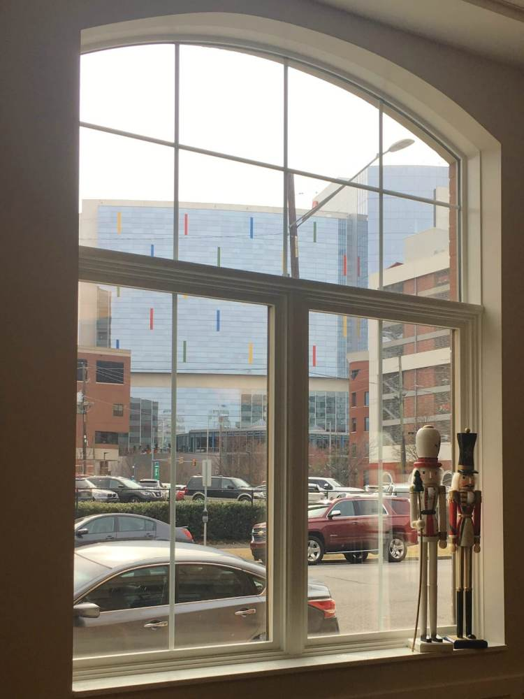 Families staying at Ronald McDonald House in Birmingham can see Children's Hospital from the window of the east wing dining room