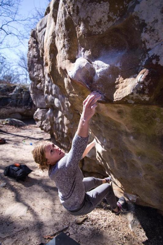 Jeanette Hightower is one of the women climbers in Birmingham. Here she is climbing at Horse Pens 40.