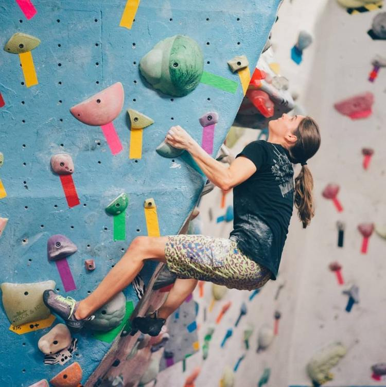 Amanda Maze is one of the women climbers in Birmingham. Here she is forerunning a problem at First Ave.