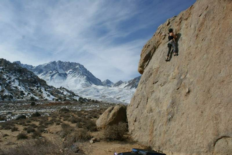 Nancy Harrington is one of the women climbers in Birmingham. Here she is climbing at Buttermilk in Bishop, California.