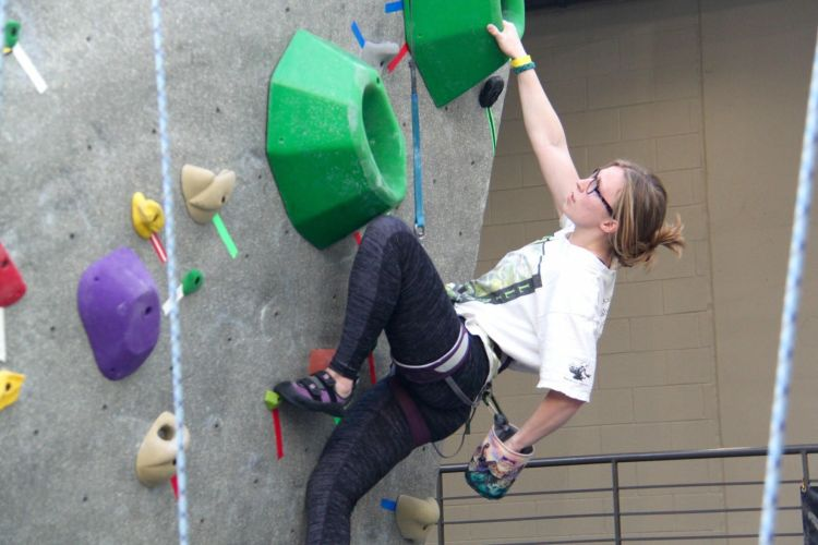 Olivia Dunne is one of the women climbers in Birmingham. Here she is climbing in a collegiate competition in Tuscaloosa.
