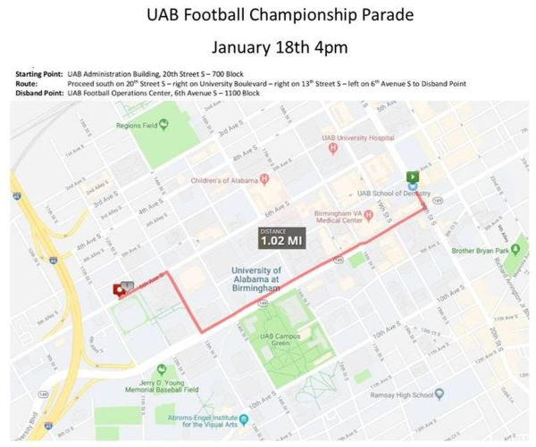 Mayor Woodfin declares January 18 'UAB Blazers Football Day ... on texas a&m football parking map, university of maryland football parking map, university of tennessee parking lot map, texas a&m parking lot map, dayton parking map, va tech parking map, northern iowa parking map, east carolina parking map, gonzaga parking map, xavier parking map, coastal carolina parking map, app state parking map, illinois state parking map, university of alabama parking map, lincoln memorial stadium parking map, south alabama parking map, west virginia parking map, u of m parking map, towson parking map, murray state parking map,