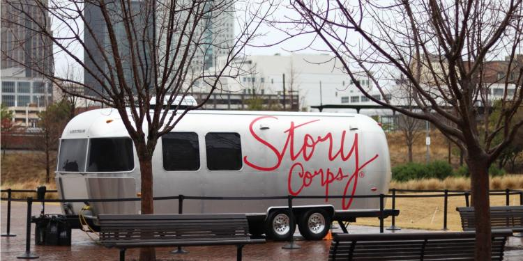 StoryCorps' MobileBooth is at Railroad Park from February 12-March 13.