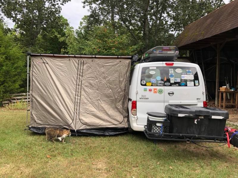 Kim Waites got an awning and tent extension to help keep her cool in the Summers.
