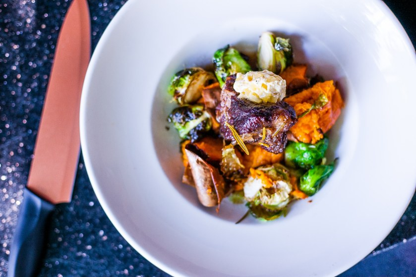 Vegetable medley complete with brussel sprouts and purple carrots. Y'all. SO GOOD!  (Photo by Jae the El Photography)