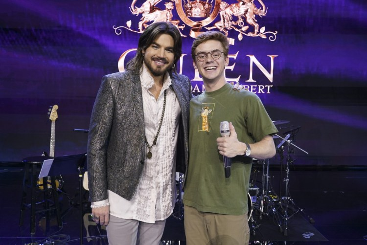 "Burroughs with celebrity guest mentor Adam Lambert. Since first appearing on ""American Idol"" in 2009, Lambert has gone on to release four albums, has appeared in numerous hit television series and is currently touring the U.S. with Queen.  (ABC/Eric McCandless)"