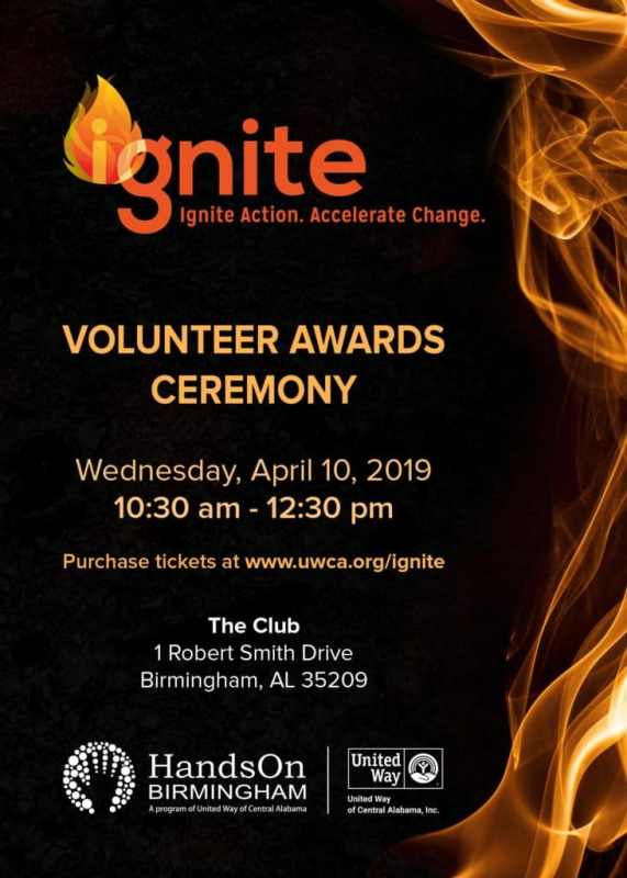 IGNITE Volunteer Awards Ceremony Poster. Wednesday, April 10, 2019. 10.30-12.30