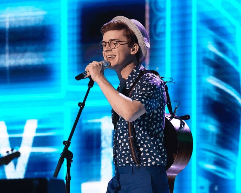 "Walker Burroughs sang the Jonas Brothers' ""Lovebug"" for the crowd after he made Top 10 on American Idol Monday, April 15. (Photo Walker Burroughs Instagram)"