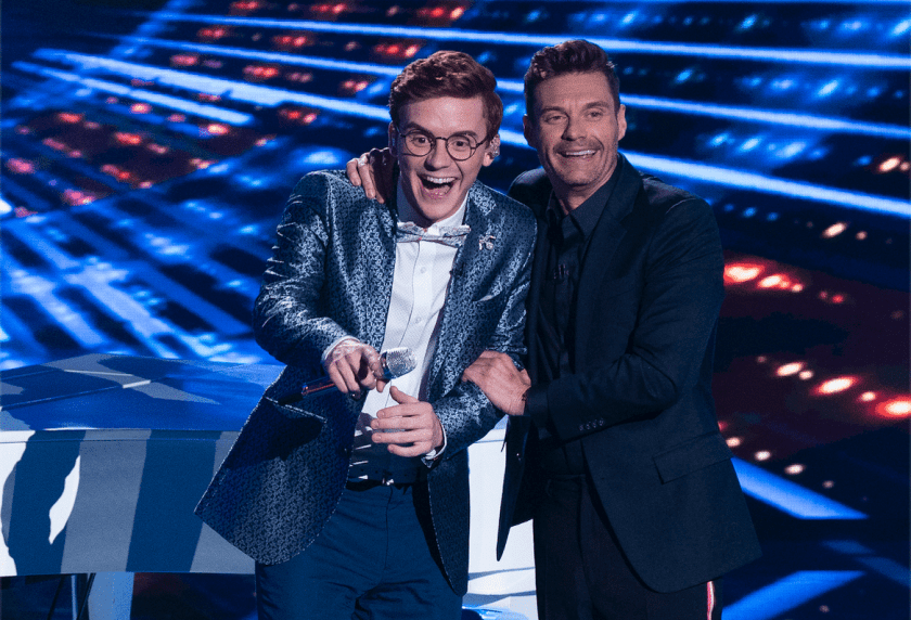 Walker Burroughs with celebrity host Ryan Seacrest  after his performance on American Idol Sunday, April 21.