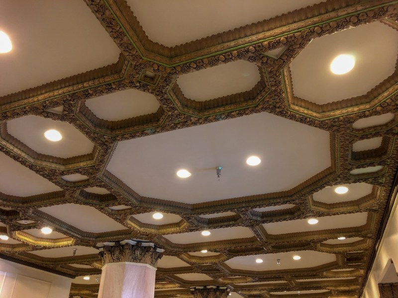 Restored ceiling decoration in the lobby of TJ Tower. Photo by Jon Eastwood for Bham Now.