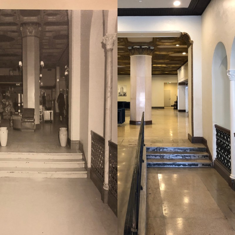 The restoration of TJ Tower (right) has stayed true to the original hotel features (left). Photos by Jon Eastwood for Bham Now.