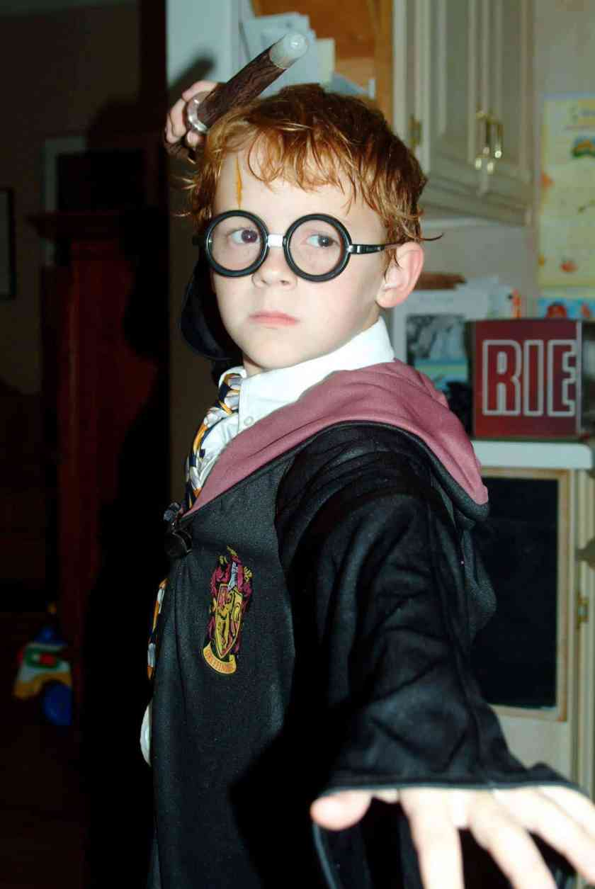 A young Walker Burroughs in full on Harry Potter costume. American Idol judge and pop superstar often references Burroughs as Harry Potter on the show.