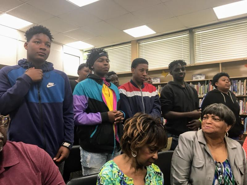 Anthony Ray Hinton had a strong message for a group of young men from Hayes K-8 who came to hear his talk.