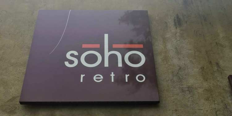 A picture of Soho Retro's sign.