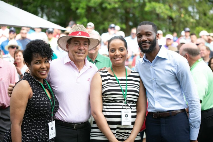 The celebrity player list is stacked at the Regions Tradition Pro-Am tournament. From 2018, University of Alabama's Nick Saban and Birmingham Mayor Randall Woodfin greet spectators.