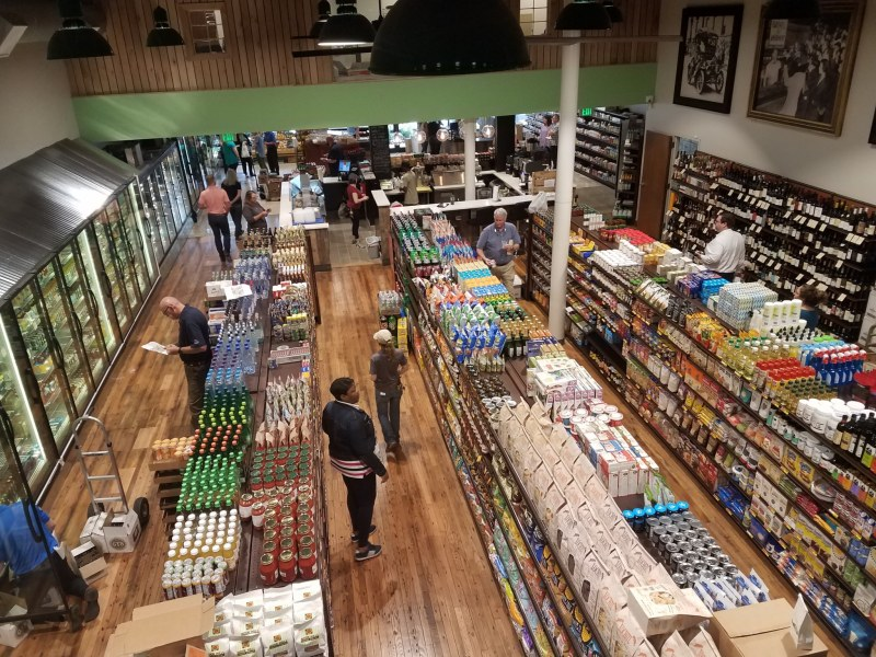Looking down on the new Harvest Market store from the Local Loft.