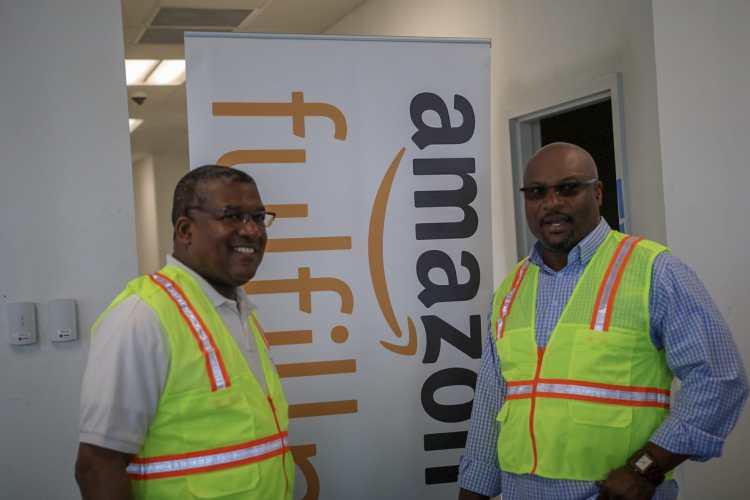 Bo Jackson and Bessemer Mayor at Amazon Fulfillment Center site