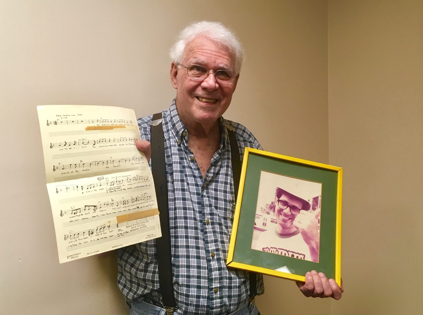 Ed Boutwell with the Tampa Bay Rowdies song sheet