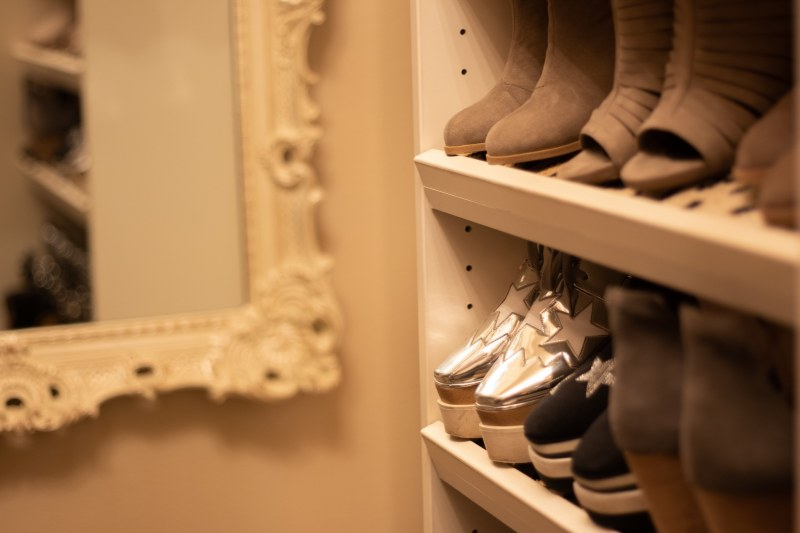 All the shoes in this designer closet.